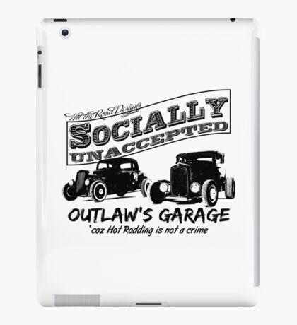 Outlaw's Garage. Socially unaccepted Hot Rods light bkg iPad Case/Skin