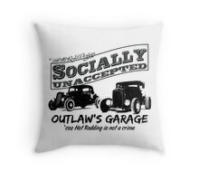 Outlaw's Garage. Socially unaccepted Hot Rods light bkg Throw Pillow