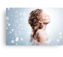 Beautiful girl with glamour Christmas makeup Canvas Print
