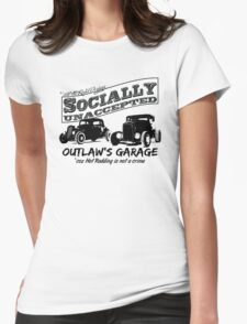 Outlaw's Garage. Socially unaccepted Hot Rods light bkg Womens Fitted T-Shirt