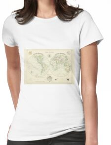 Antique world map Womens Fitted T-Shirt