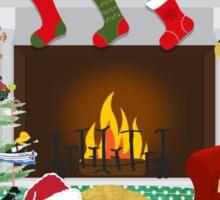 Night Before Christmas - Preppy Golden Retrievers Sticker