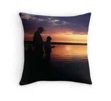Family Fishing Sunset Throw Pillow