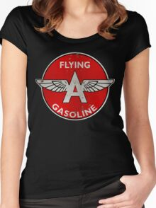 Flying A Gasoline rusted version Women's Fitted Scoop T-Shirt