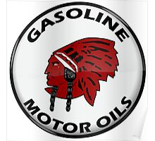 Red Indian Gasoline vintage sign reproduction crystal vers. Poster