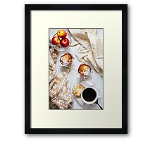 Breakfast table with cakes, coffee and fruits Framed Print