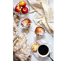 Breakfast table with cakes, coffee and fruits Photographic Print