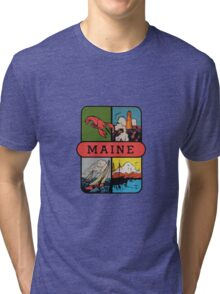 Maine Lobster Sailing Vintage Travel Decal Tri-blend T-Shirt