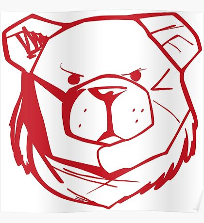 Robust Bear Logo Red Poster
