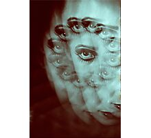 Multiple image of eye of young woman with makeup in dark analog film 35mm photo Photographic Print
