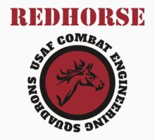 Cool Horseman Redhorse USAF Combat Squadron Engineering T-shirt by Albany Retro