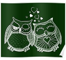 Cute owl couple with hearts Poster