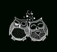 Cute owl couple with hearts by Fuchs-und-Spatz