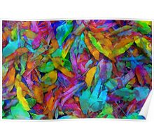 Colorful fantasy fallen leaves Poster