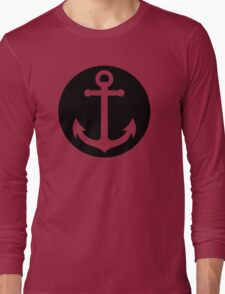 anchor inside black circle Long Sleeve T-Shirt