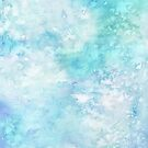 Winter snow watercolour in blue and turquoise ice, snow and water blue shades by Sandra O'Connor