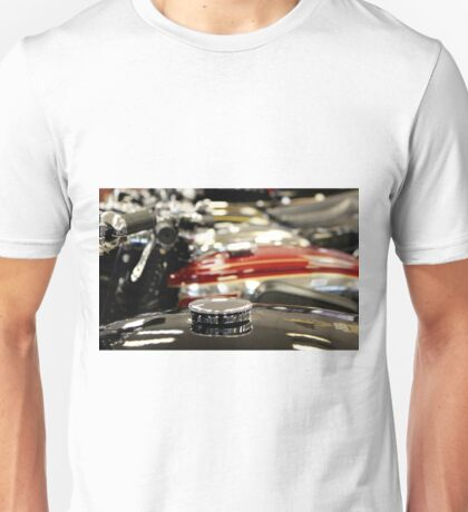 Abstract photograph of Classic vintage motorbike petrol tanks, home decor, gifts and greetings cards. Unisex T-Shirt