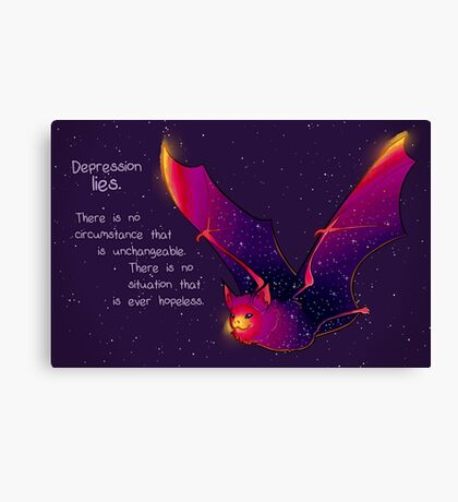 """Depression Lies"" Galaxy Bat Canvas Print"
