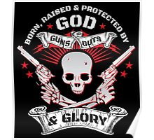 Cool Limited Edition Defend Your Second Amendment Gun Right Skull T-Shirt Poster