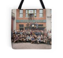 Harley Davidson gang and Bike Shop ca 1925 Tote Bag