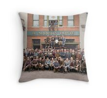 Harley Davidson gang and Bike Shop ca 1925 Throw Pillow