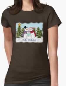 Snowman Family Feliz Navidad Womens Fitted T-Shirt