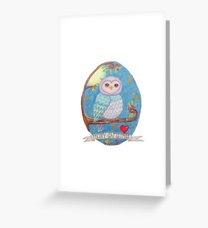 Colorful cute Little christmas forest owl Greeting Card