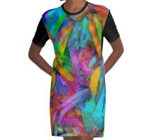Colorful fantasy fallen leaves Graphic T-Shirt Dress