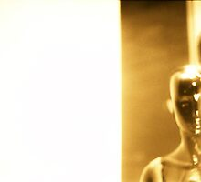 Futuristic Martian shop dummy mannequins 35mm silver gelatin sepia film photo by edwardolive