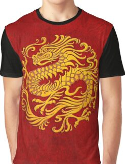 Traditional Yellow and Red Chinese Dragon Circle Graphic T-Shirt