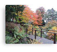 Autumn: Bridge At Botanical Gardens Canvas Print
