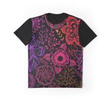 Whimsical Butterfly and Flowers Pattern Graphic T-Shirt