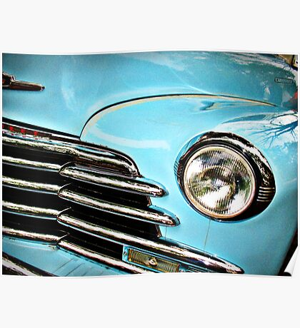 Blue Chevrolet truck headlight Poster