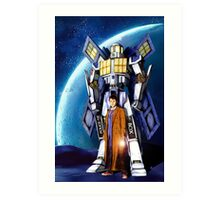 Giant Robot Phone Box with The Doctor Art Print