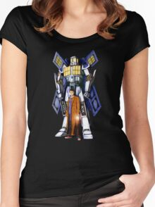 Giant Robot Phone Box with The Doctor Women's Fitted Scoop T-Shirt