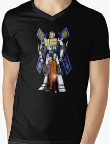 Giant Robot Phone Box with The Doctor Mens V-Neck T-Shirt