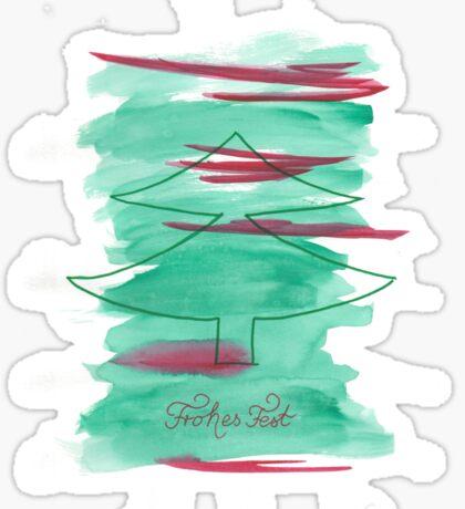 Weihnachtsbaum Frohes Fest grün rot Sticker