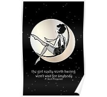 Gatsby Girl swinging on the Moon with F Scott Fitzgerald Quote Poster