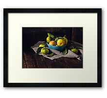 Still Life with Yellow-green Tangerines Framed Print