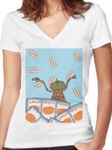 Clarence raining - The Big Lez Show Women's Fitted V-Neck T-Shirt