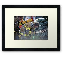 A Much Needed Break for a Firefighter Framed Print
