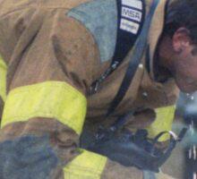 A Much Needed Break for a Firefighter Sticker