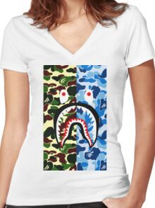 shark bape army blue tshirt Women's Fitted V-Neck T-Shirt
