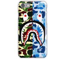 shark bape army blue tshirt iPhone Case/Skin