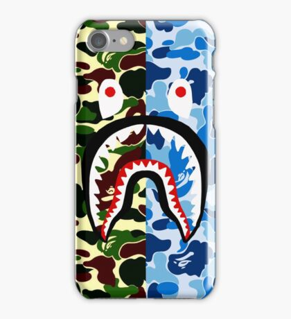 shark bape army blue tshirt iPhone Case/Skin