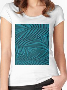 Palm leaf turquoise  Women's Fitted Scoop T-Shirt