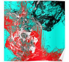 Paint Collision - Red, black, white and cyan marbled paint Poster