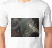 Abstract view of  Praktica Vintage camera, showing the lens and body Unisex T-Shirt