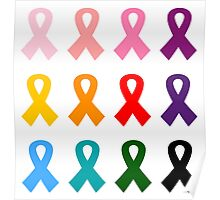 New! Sustainable design with ribbons with anti-cancer message Poster