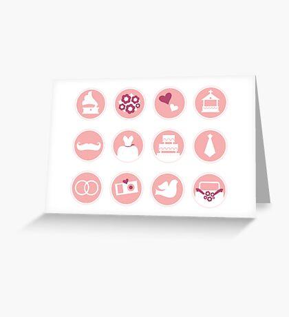 New arrival in shop : Wedding set / Original hand-drawn art illustration. Pink Greeting Card